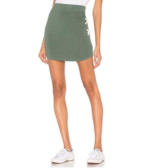 NWT Monrow Super Soft Lace Skirt Cactus Revolve